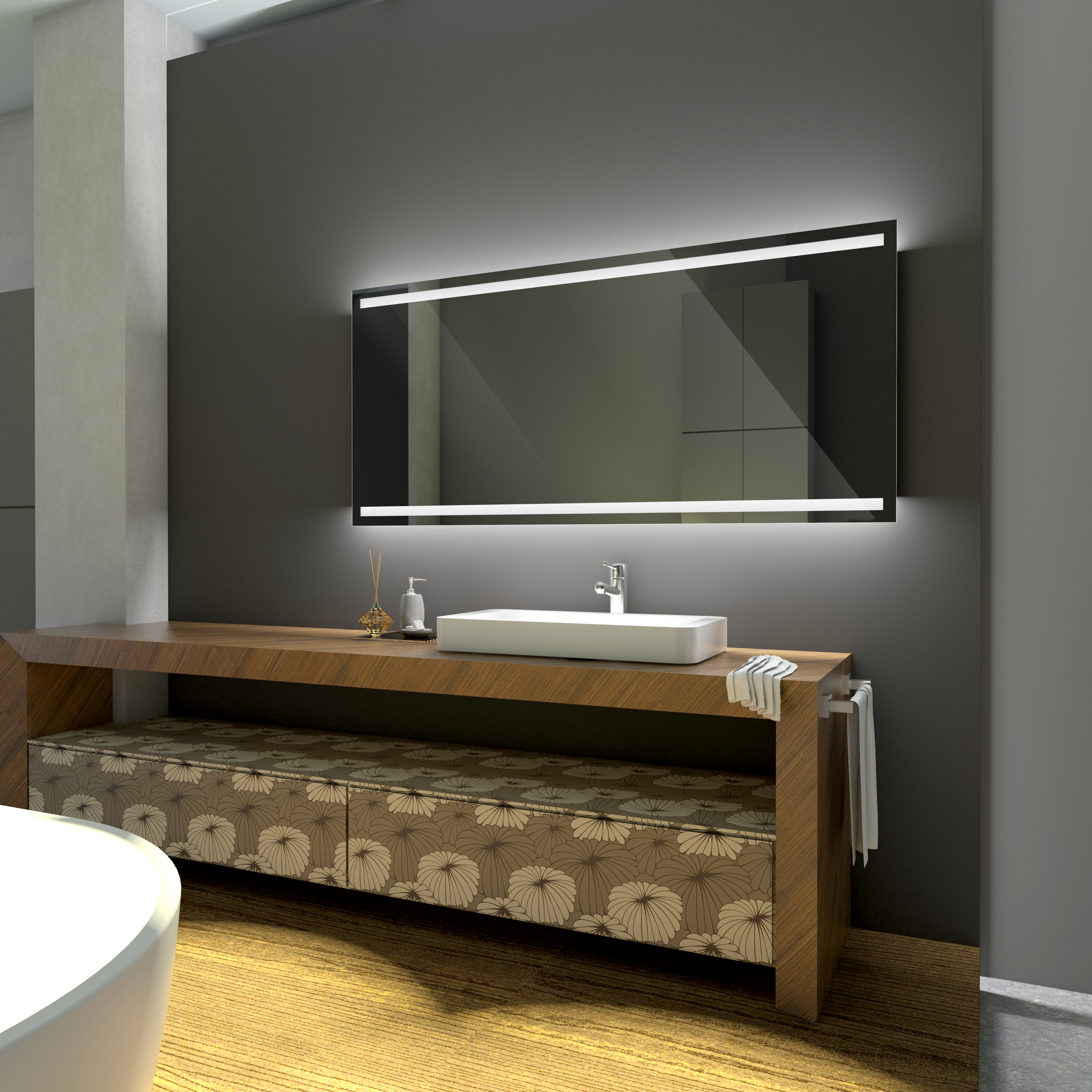 badspiegel mit led spiegel mit beleuchtung wandspiegel nach ma denver promo ebay. Black Bedroom Furniture Sets. Home Design Ideas