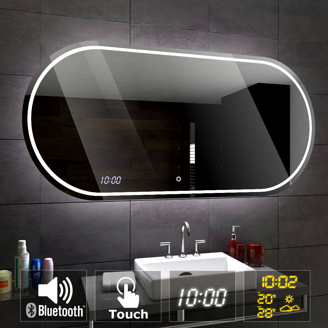 palermo clair del miroir salle de bain bluetooth touche. Black Bedroom Furniture Sets. Home Design Ideas