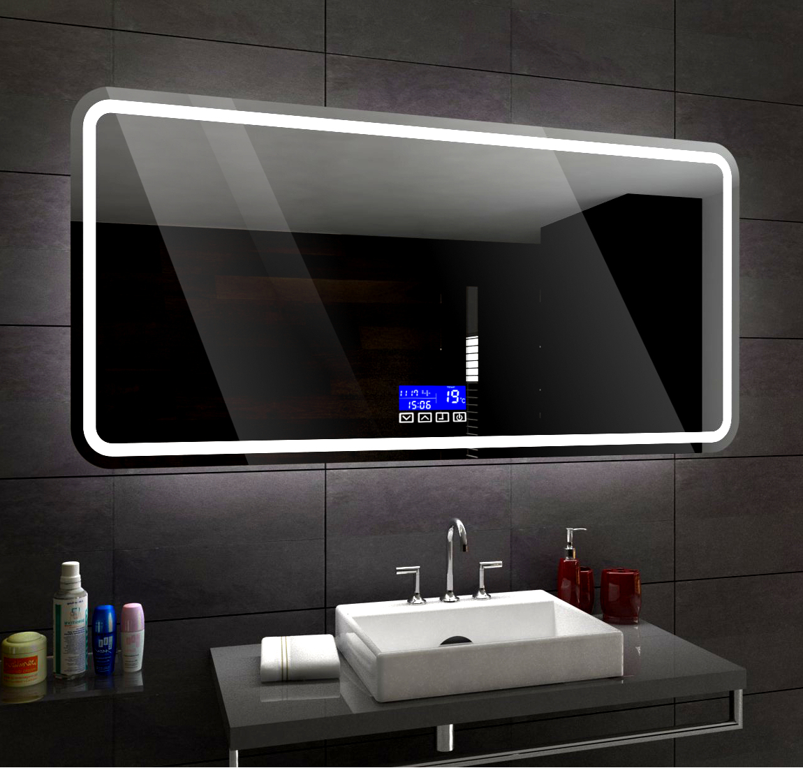 clair del miroir salle de bain led pour mesurer madrid lcd touch panneau ebay. Black Bedroom Furniture Sets. Home Design Ideas