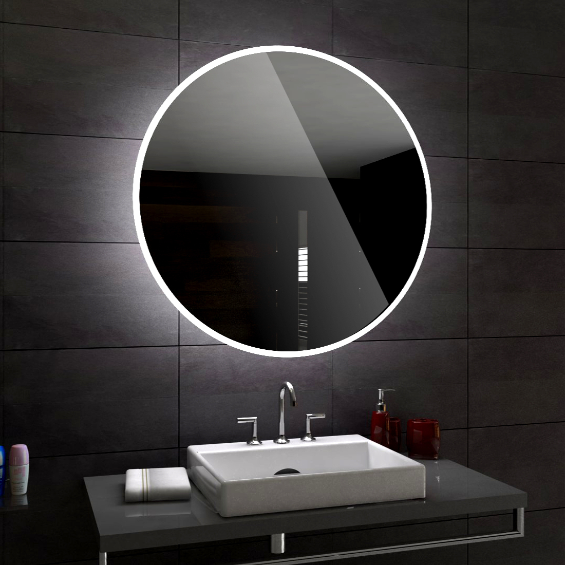 Round Illuminated Led Bathroom Mirror
